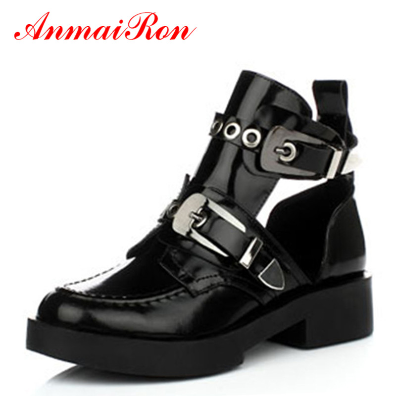 ANMAIRON Genuine Full Grain Leather Buckle Cut Out Women Punk Ankle Sale Motorcycle Boots Gladiator Shoes Woman Martin Boots women martin boots 2017 autumn winter punk style shoes female genuine leather rivet retro black buckle motorcycle ankle booties