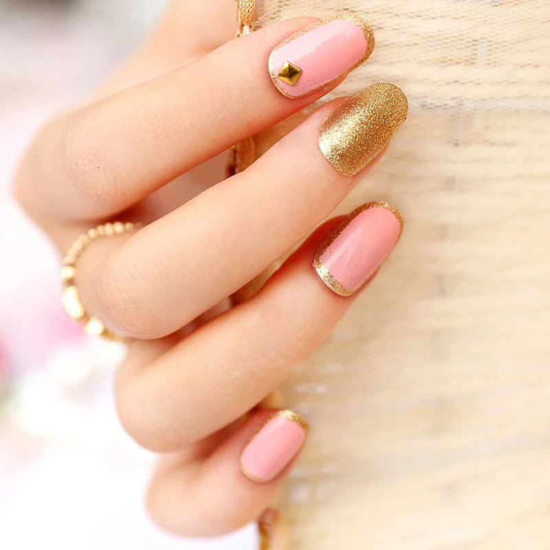 2016 New 3D Decorated Starfish Fake Nails With Glue Pink Color Glitter False Nails Tips Short Nail Art Tips For Office Lady