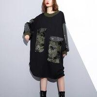 2018 New Autumn Winter Round Neck Black Camouflage Fur Pocket Stitch Large Size Sweatshirt Dress Women Fashion Tide
