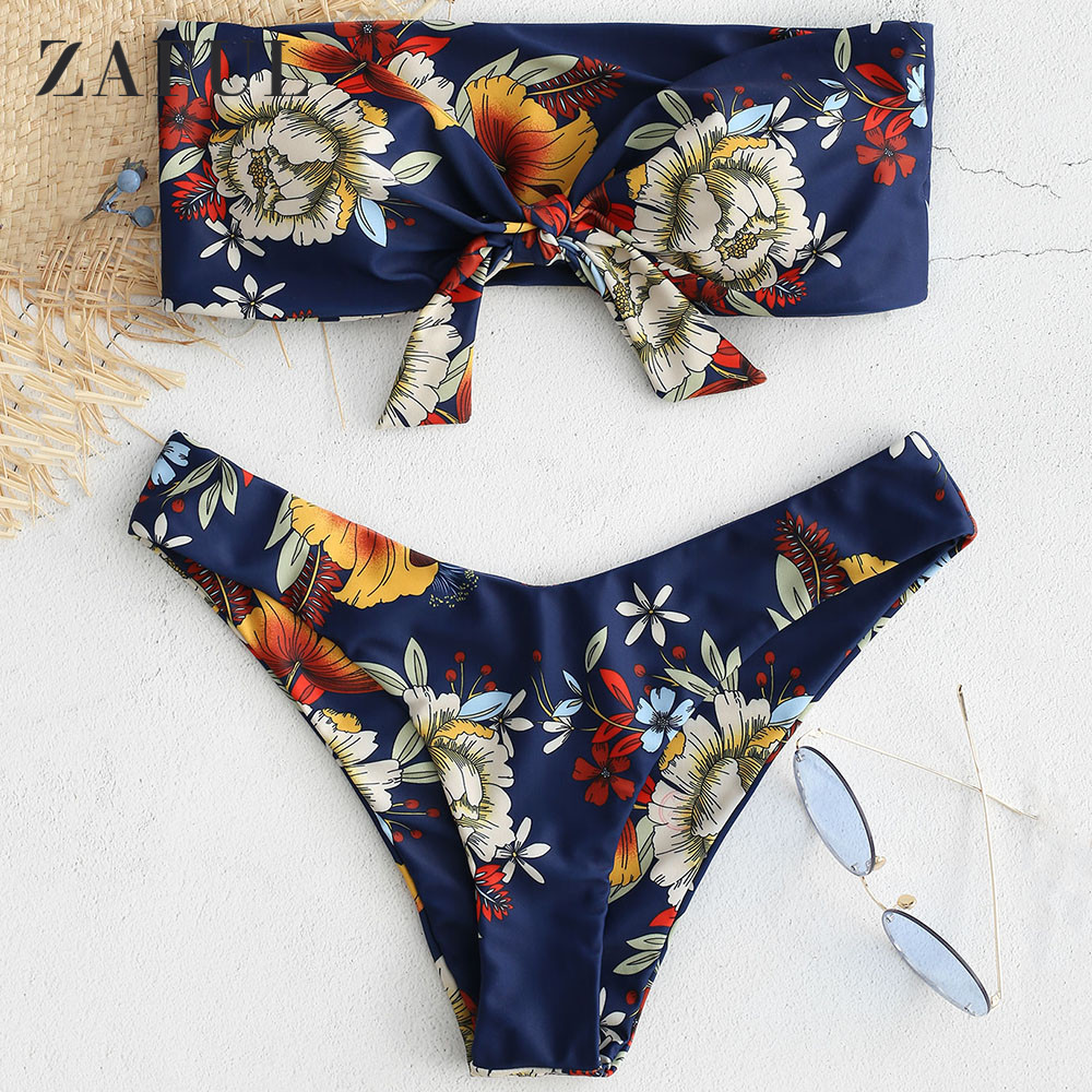 ZAFUl Noeud Floral Bandeau ensemble bikini Femmes Mi Taille Maillot de Bain Sexy maillot de bain Bandeau Sans Bretelles 4-Couleur maillot de bain Biquni