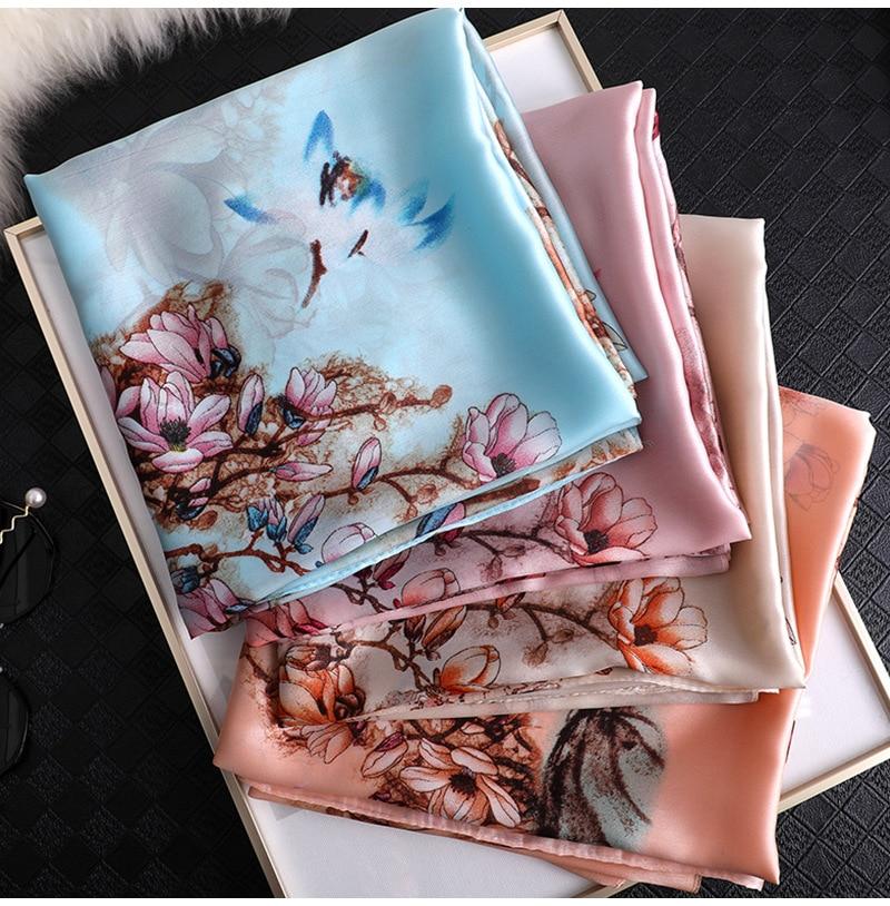 100% Natural Silk Scarf Women Luxury Brand Spain Luxury Brand Retro Floral Pashmina Shawl Long Bandanas Bufanda Foulards Hijab