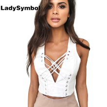 LadySymbol White 2017 Summer Lace Up Women Crop Top V Neck Short Tops Sexy Camis Back Zipper Casual Slim Women Girl Tank Top 90s