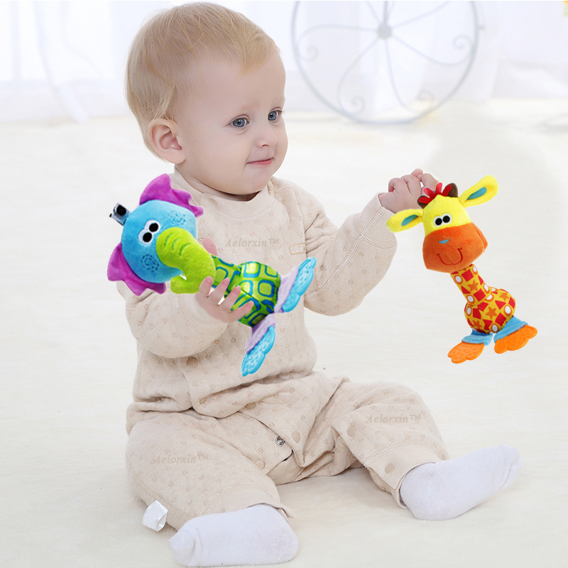Baby Kids Toys Soft Plush Toys 22cm Cartoon Animal BB Sounder Rattles Teether Mobile Rattle Squeaker Educational Newborns