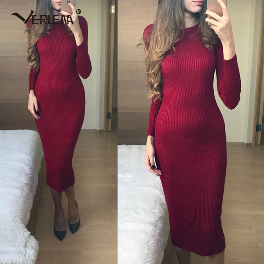 Women's Clothing Contemplative Verlena Hot 2019 Thick Autumn Winter Knitted Maxi Dress Women Plus Size Long Sleeve O-neck Casual Bandage Bodycon Black Dresses
