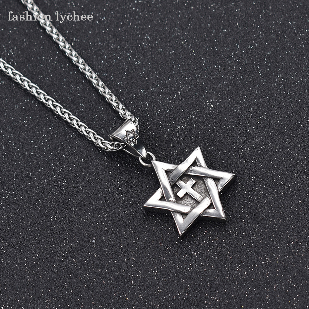 3367ea7010c7 fashion lychee Silver Gold Color Stainless Steel David Cross Six-pointed  Star Pendant Necklace Men