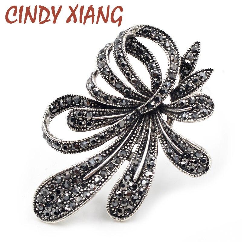 Женская винтажная брошка CINDY XIANG, черная брошка в виде цветов и горного хрусталя
