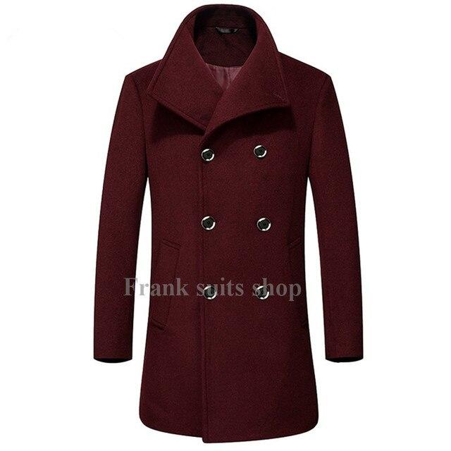 Custom made 2017 Fashion Mens Wool Blends Double Breasted Winter Woolen Coats Men Windbreaker Long Overcoats