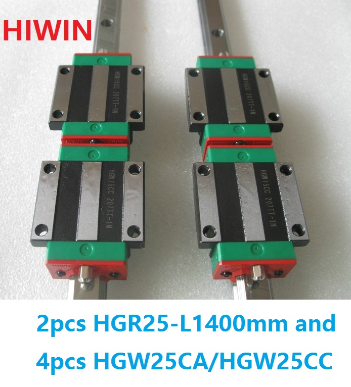 2pcs 100% original Hiwin linear rail linear guide HGR25 -L 1400mm + 4pcs HGW25CA HGW25CC flange carriage block for cnc original new hiwin linear guide block carriages hg25 hgw25cch hgw25cc hgr25 for cnc parts