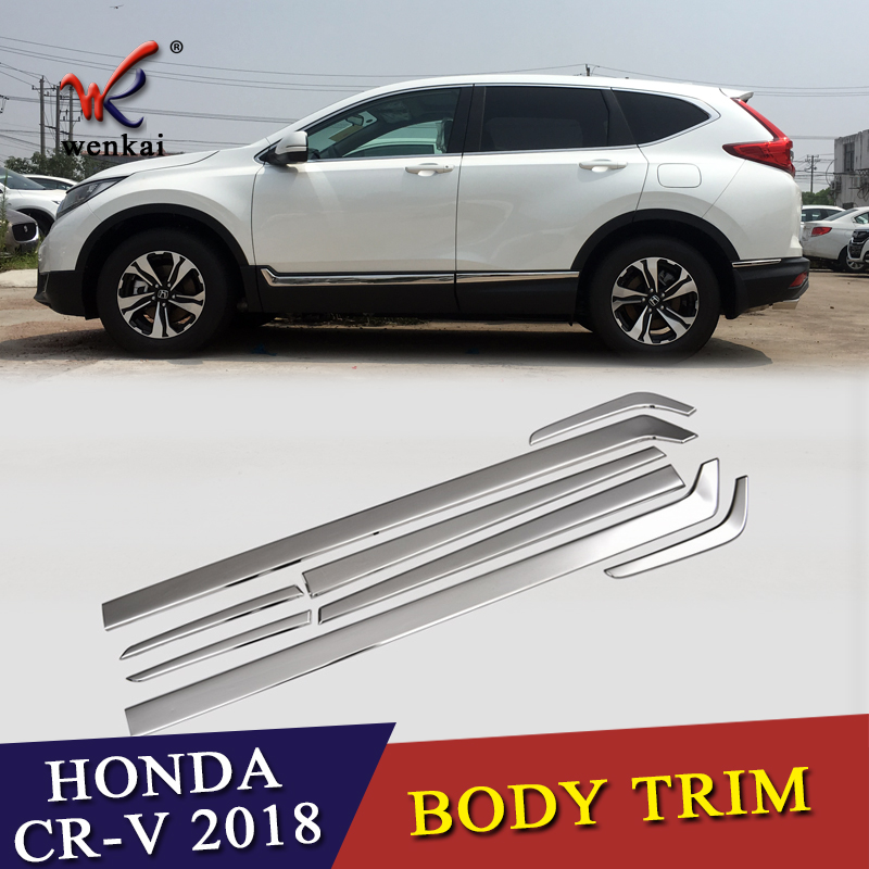 8PCS/Set For Honda CRV 2017 2018 Stainless Steel Body Side Molding Trim Overlay Accessories Car-styling 4pcs stainless steel side door body molding cover trim for bmw x5 f15 2014 2015 car accessories