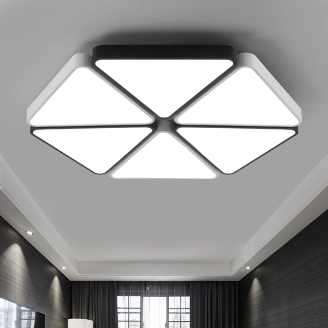 modern triangle led panel surface mounted ceiling lamp white black rh aliexpress com Bright Light for Ceiling Mounted Vanity Bright Light for Ceiling Mounted Vanity