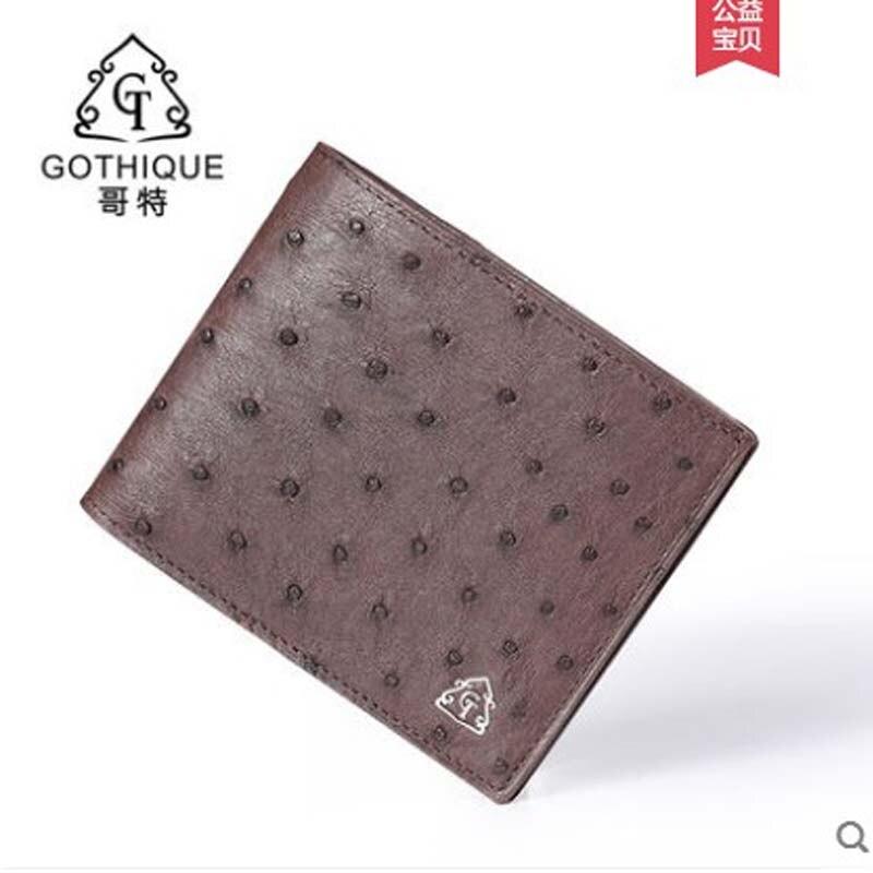 Gete 2019 nouveau portefeuille en cuir d'autruche importé pour hommes. Portefeuille horizontal en cuir pour hommes - 2
