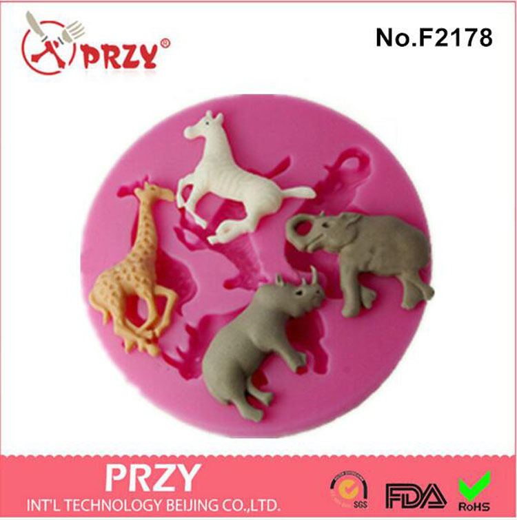 horse rhinoceros elephant giraffe animal series cake decorating tools silicone fondant m ...