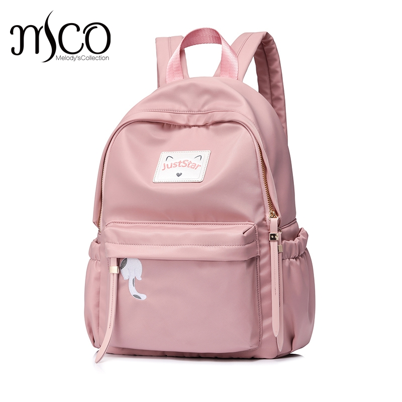 Just Star Women Backpack Nylon Soft Mochila Escolar School laptop Bags For Teenagers Girls Top-handle Backpacks PINK Backpacks 2017 new fashion girls top handle backpacks female pu leather mochila escolar women backpack school bags for teenagers