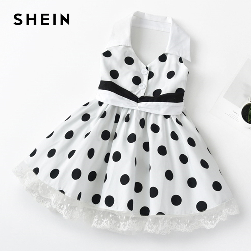 SHEIN Kiddie White Girls Contrast Lace Polka Dot Vintage Shirt Dress 2019 Summer Sleeveless High Waist Cute Flared Short Dresses недорго, оригинальная цена