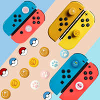 Silicona analógica pulgar palillos tapas para Nintendo Switch NS JoyCon controlador Sticks piel Joy Con Gato Splatnoon tapa de pulgar