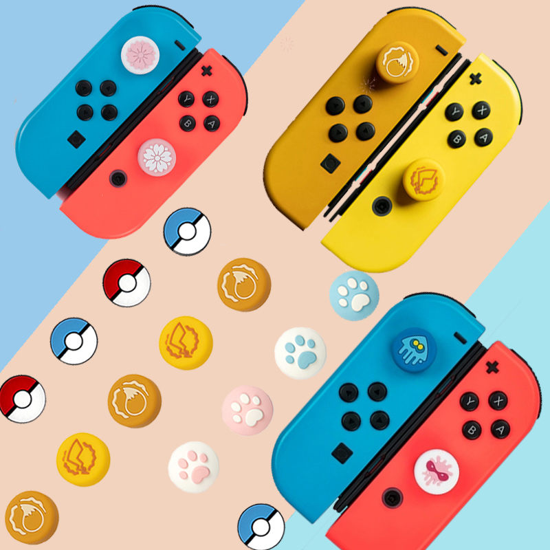 Silicone Analog Thumb Stick Grips Caps For Nintendo Switch NS JoyCon Controller Sticks Skin Joy Con Cat Splatnoon ThumbStick Cap For Nintendo Switch Lite Console Joy Con Joystick Silicone Grips Cap