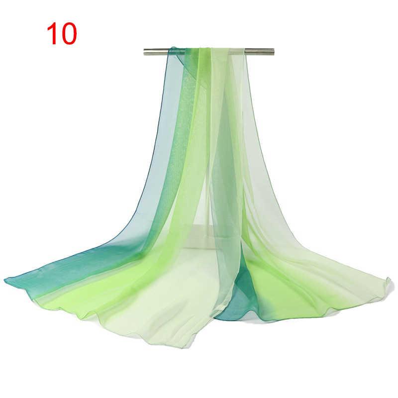 Хит Женский легкий пляжный шарф градиентного цвета длинная шелковистая шаль SMA66