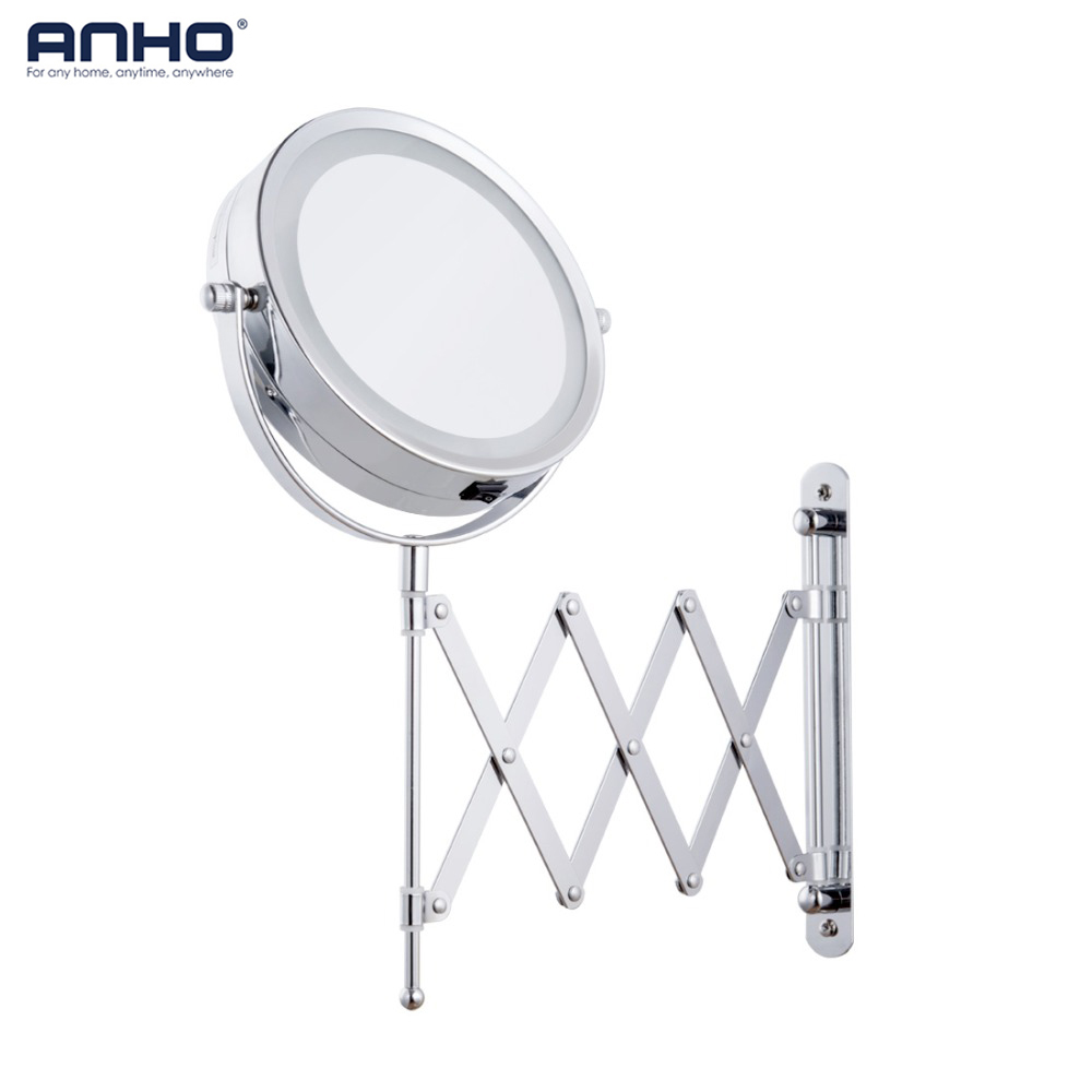 Makeup Mirror Bath Mirror Led Arm Magnification Wall Mounted Adjustable Cosmetic Mirror Dual Arm Extend 2-Face Bathroom Mirror new fashion 6 inches led bathroom mirror dual arm extend 2 face metal makeup mirror 5x magnifying wall mounted extending folding