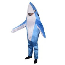 Blue Shark Attack Animal Costume Mascot Funny Adult Unisex Cute Full Body Jumpsuits Halloween Party Costumes