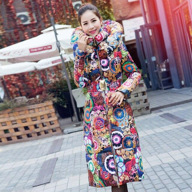 Женщины Вниз Парки Длинный Толстый Зимний Цветочной Моды Пальто Женщин Вниз куртка для Женщин Одежда Толстые Outerwears Плюс Размер