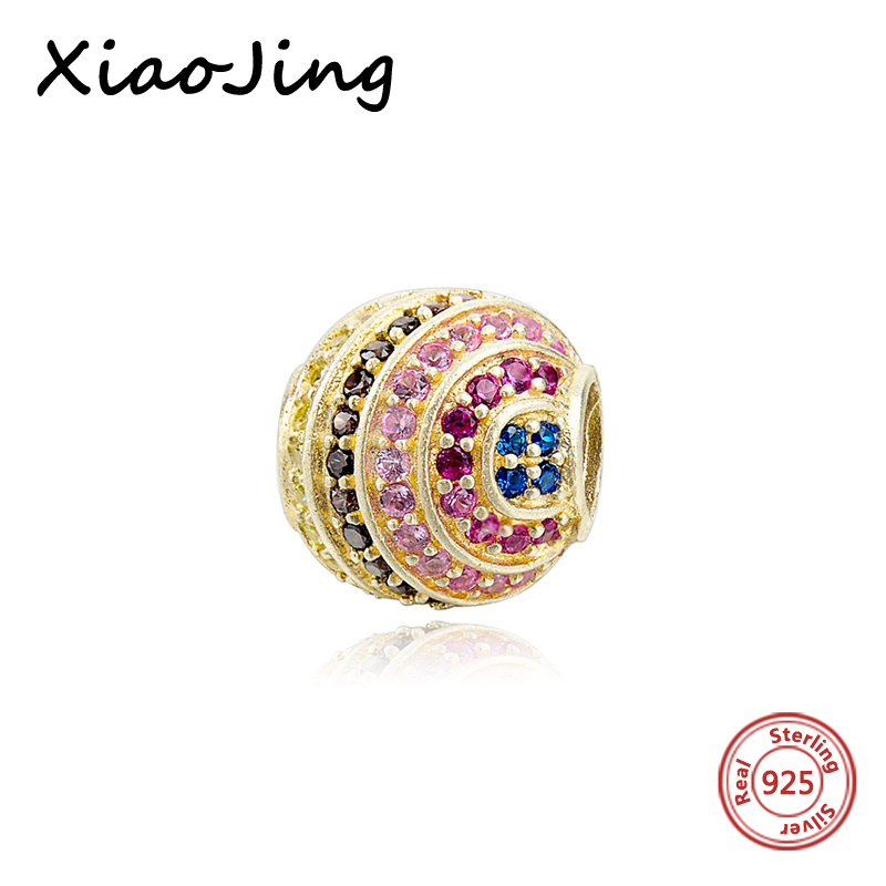 Recommend round shape charms diy design beads with multicolor CZ fit authentic pandora charm bracelet jewelry factory supply