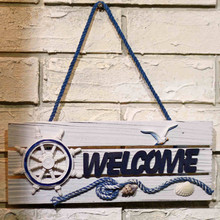 AIBEI-28CM Wooden Anchor Bird Rudder Paddle Welcome Board 1PC Mediterranean Style Do old Shop Bar Home Nautical Decor