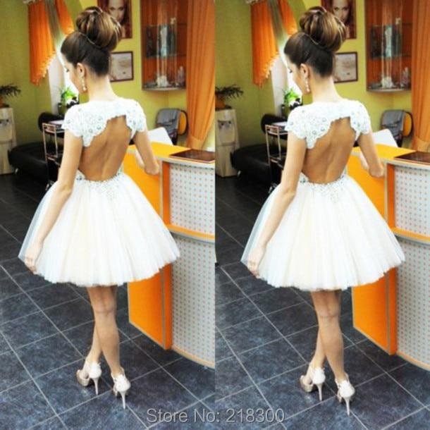 Aliexpress.com : Buy Backless White Short Prom Dresses Cap Sleeves ...
