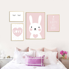 Posters And Prints Kids Room Cartoon Rabbit Paintings Wall Decor Picture Poster Nursery Art Nordic Pink Unframed