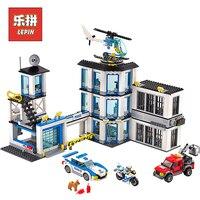 Лепин 02020 город полицейский участок строительные блоки кирпичи вертолет автомобиля совместимый Legoinglys Bringuedos для детей DIY игрушки