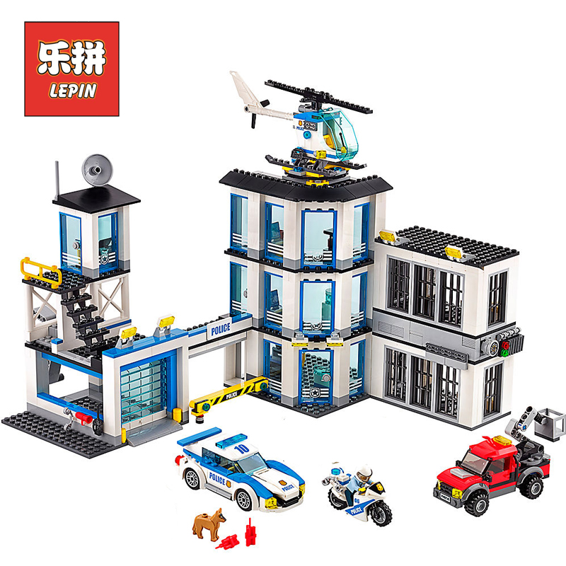 Lepin 02020 City Police Station Building Blocks Bricks Helicopter Car Compatible Legoinglys Bringuedos for children DIY Toys 407pcs sets city police station building blocks bricks educational boys diy toys birthday brinquedos christmas gift toy
