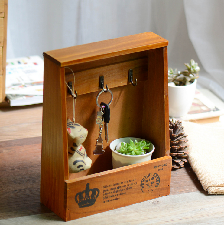 But the promise Zakka storage box hanging key box on the creative wooden wall rack wall decorations