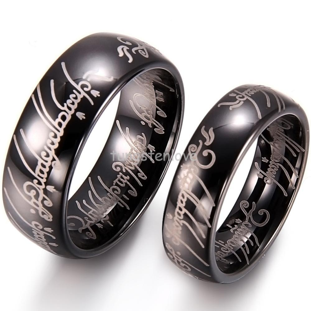 High Polished Dome Lord Laser Etched Tungsten Carbide Rings 8mm Men