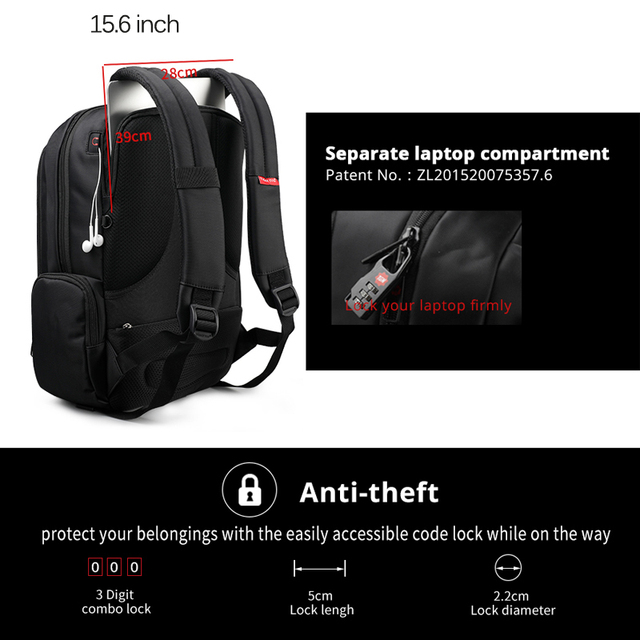 Tigernu 15.6inch Mini Anti theft Laptop Backpack Male Waterproof  Men's Backpacks Bag Women's Casual School Backpacks for teens 4