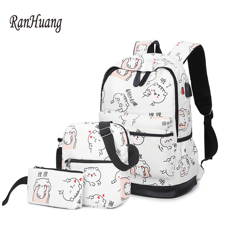 RanHuang Women Casual Canvas Backpack Cat Printing Backpack School Bags For Teenage Girls Ladies Travel Bags mochila feminina qb pokemon cartoon backpack pikachu school backpack for teenage girls boys school bags travel daypack pokeball mochila