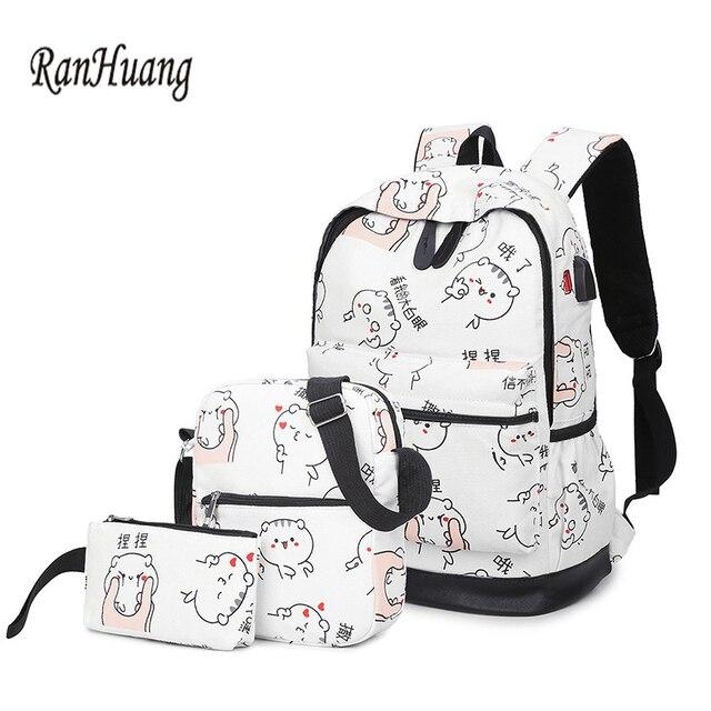 3a2b125841 RanHuang Women Casual Canvas Backpack Cat Printing Backpack School Bags For  Teenage Girls Ladies Travel Bags mochila feminina