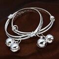 Silver Love Baby Bangles Silver Bracelets For Baby Boys Small Bells Pulseiras Braceletes pulceras de plata para bebe