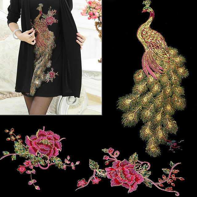 d8ce4d8895792 US $1.25 27% OFF|DIY Peacock Flower Sequins Embroidered Patches For Clothes  Applique Embroidery Flower Wedding Dress Sewing Trim Garment Decor-in ...