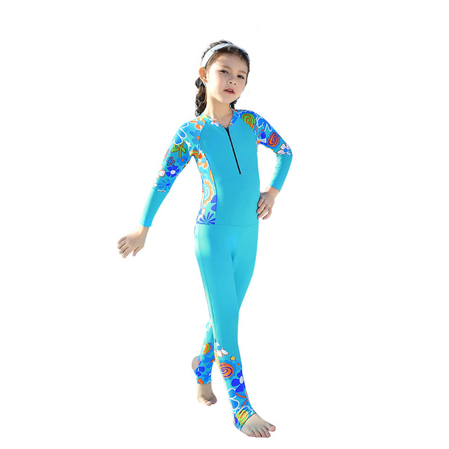 3a1da5914abe2 Boys and Girls One pieces Swimwear Kids Long Sleeved Swimsuit Children Long  Slacks Body Suits Beachwear for 3-10 Years Old