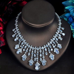 Image 3 - HIBRIDE Clear Big Water Drop Pendant Women Jewelry Sets Bride Full Cubic Zircon Necklace Set Fashion Luxury Jewelry N 618