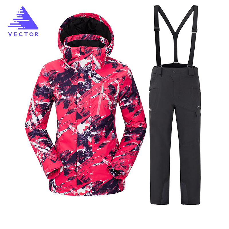 VECTOR Brand Ski Suit Women Warm Waterproof Skiing Suits Set Ladies Outdoor Sport Winter Coats Snowboard Snow Jackets and Pants winter snow clothing ski suits women snowboard pants skiing jackets keep warm waterproof female skiwear outdoor snoboarding