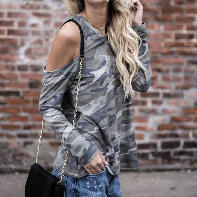 Women Sexy Long Sleeve Off Shoulder Camouflage T-shirt Casual oose T-shirts Spring Autumn Tops FS99 1