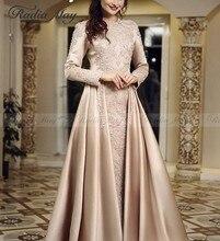 Arabic Long Sleeves Muslim Evening Dress with Long Train Champagne Satin Kaftan Dubai Formal Prom Dresses 2019 Elegant