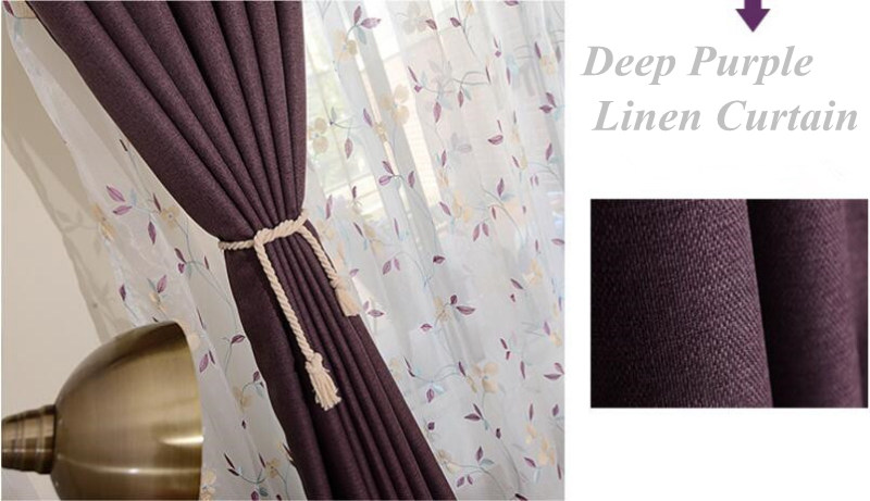 Purple Curtains Embroidered Voile Curtinas Leaves Modern Window