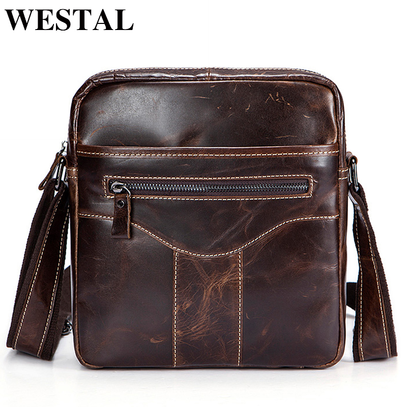 WESTAL Fashion Messenger Bag Leather Men Bag Male Genuine Leather Bags ipad Pouch Shoulder Crossbody Bags for Man Small Flap westal men s travel phone chest pack genuine leather men bag men messenger shoulder bags leather belt waist bag crossbody bags