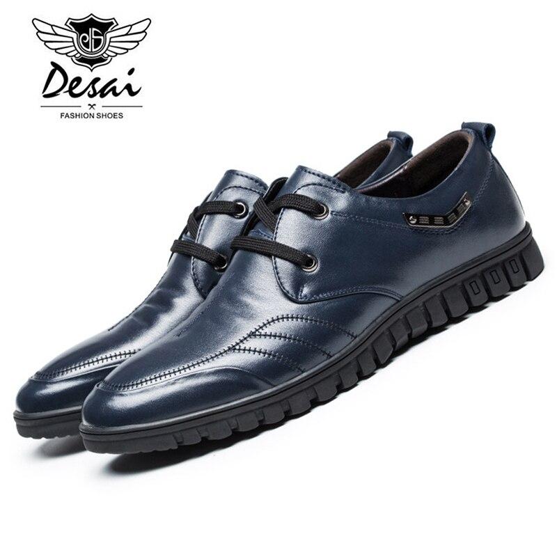 Desai 2017 New Arrival Mens Genuine Leather Shoes Fashion Summer Casual Shoes Man's Lace-up Italian Designer Brand Shoes DS3380 desai brand mens sandals genuine leather shoes fashion summer men slippers breathable casual shoes leather man ds968