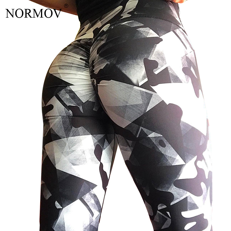 NORMOV   Leggings   Women Plus Size High Waist Workout Women Clothing Push Up Gothic Print Pants Women   Leggings   For Fitness