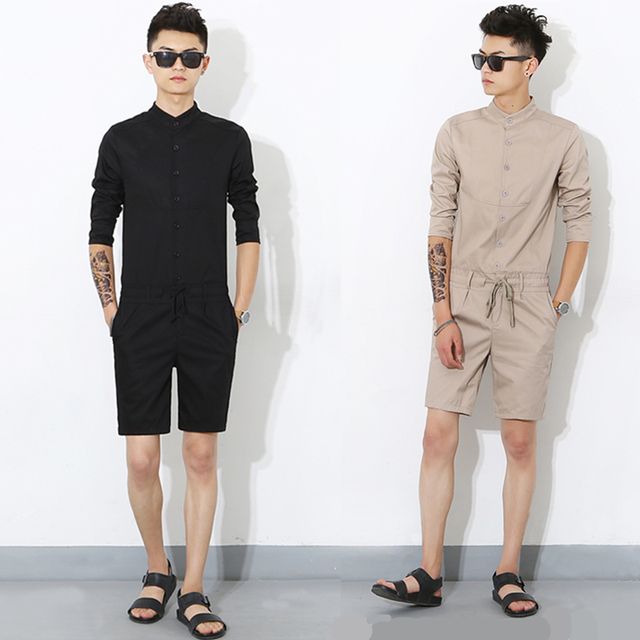 2017 New Fashion Korean Gothic Casual Mens Jumpsuit Unique Designer Overalls For Men Black Khaki