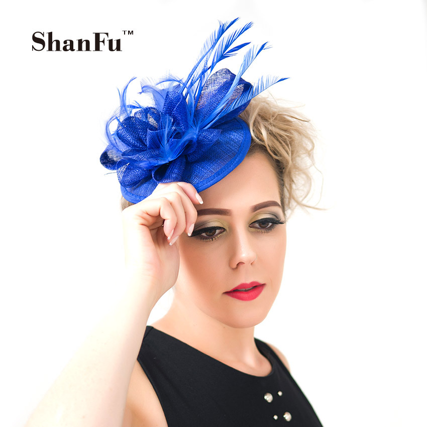 ShanFu Women Sinamay Small Fascinator Hat with Feather Cocktail Hat with Clip and Headband Royal Blue SFC12187 free shipping high quality 2015 mini disc flower sinamay fascinator with feather for race
