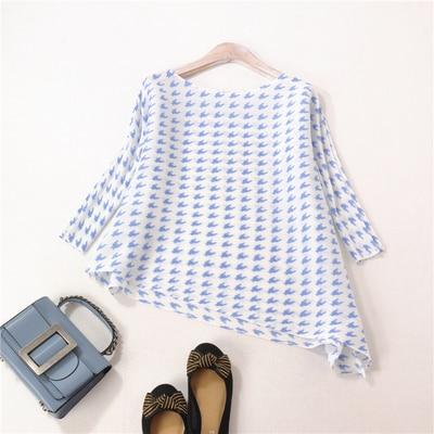 En shirt Fold Noir Impression bleu Poule Stock Miyake D'o rose Chaude T Mode Trois Quarts cou Vente PUn7Wtxqwg