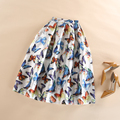 Fashion Women Skirt Summer Autumn Vintage Romantic Butterfly Print Ball Gown Pleated High Waist Midi Length Saia Midi Skirt